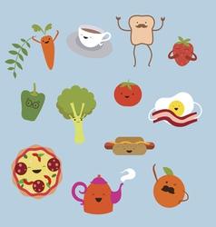 Cute food character vector