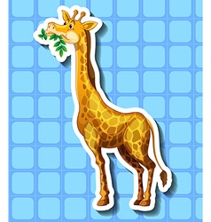 Cute giraffe chewing the leaves vector