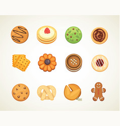 Different cookie cakes top view sweet food vector