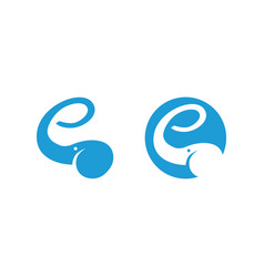 Elephant logo showing letter e with the trunk vector