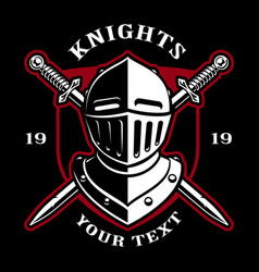 emblem of knight helmet with swords vector image vector image