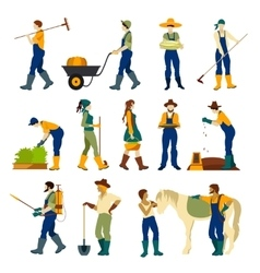 Farmers at work flat icons set vector