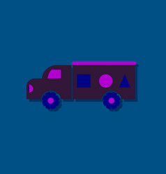 Flat icon design kids truck silhouette in sticker vector