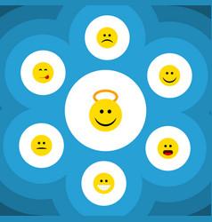 Flat icon expression set of joy angel sad and vector