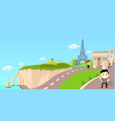 france travel horizontal banner cartoon style vector image