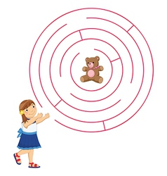 Girl and Maze vector image vector image