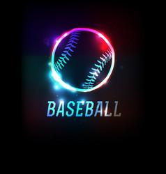 glowing baseball icon background vector image vector image