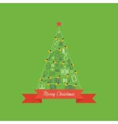 Green stylized Christmas tree Christmas greeting vector image vector image