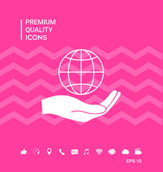 Hand holding earth protect icon vector