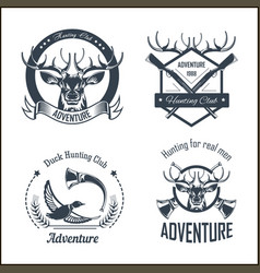 Hunting club or hunt adventure logo templates set vector