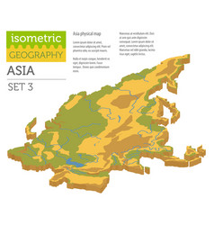 Isometric 3d asia physical map constructor vector