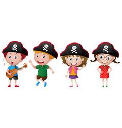 Kids wearing pirate hat vector