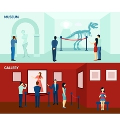 Museum visitors 2 flat banners poster vector image