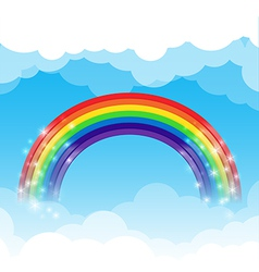 Rainbow cloud and sky background vector