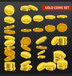 realistic gold coins darktransparent set vector image vector image