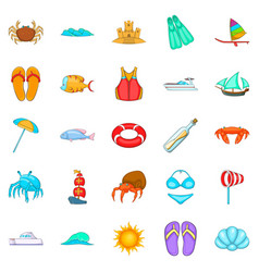 Rest on the ship icons set cartoon style vector