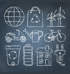 set of ecology icons in sketch style on chalkboard vector image vector image