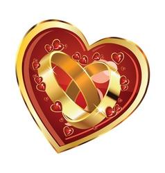 Wedding rings in heart vector image
