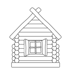 Wooden house icon in outline style isolated on vector image