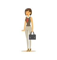 Businesswoman with suitcase business office vector