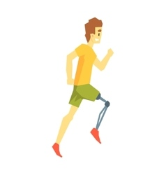 Guy running with artificial leg young person with vector