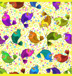 Colorful funny birds seamless vector