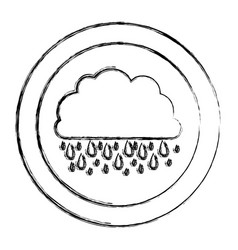 monochrome blurred circular frame with cloud with vector image
