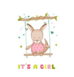 Baby shower or arrival card - baby girl kangaroo vector