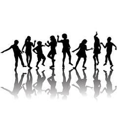 Group of children silhouettes dancing vector image