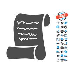 Script roll flat icon with free bonus elements vector