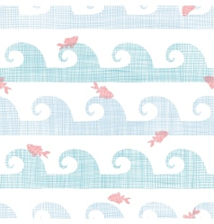 Abstract textile fish among waves seamless pattern vector image