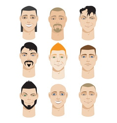 Colorful male faces vector