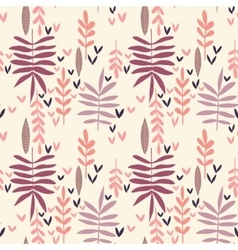 Hand-drawn vintage seamless leaf pattern vector image