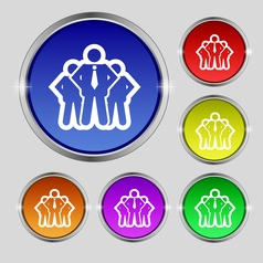 Business team icon sign round symbol on bright vector
