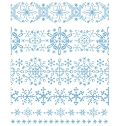 Snowflakes seamless borderswinter pattern set vector