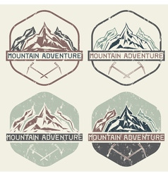 Set of vintage grunge labels mountain adventure vector