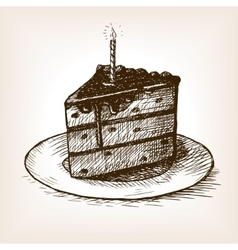 Piece of cake and candle hand drawn sketch vector