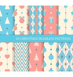 Set of christmas different seamless patterns vector