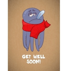 Cartoon octopus sick bad feeling wishing a vector