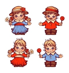 Set of sweet children for festa junina vector