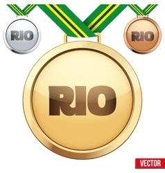 Three medals on green ribbons with shiny vector