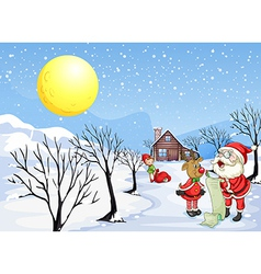 A reindeer beside santa claus with his list vector
