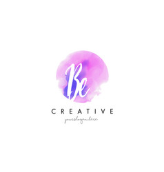 Be watercolor letter logo design with purple vector