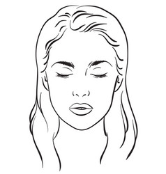 Beautiful woman portrait face chart template vector