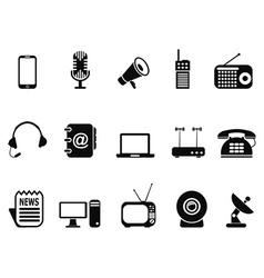 black communication device icons set vector image