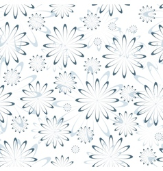 Blue Floral Seamless Pattern on White vector image