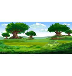 cartoon summer background with big trees vector image