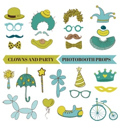Clown and Party - Photobooth Set vector image vector image