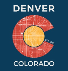 colorado t shirt with denver city map vector image vector image