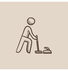 Curling sketch icon vector